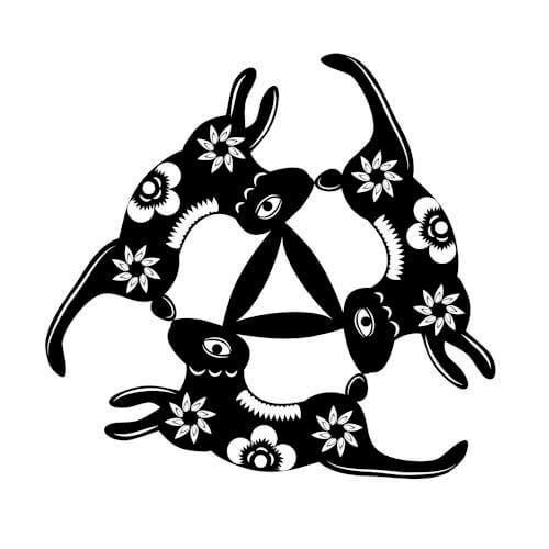 Representação moderna do círculo de três lebres.