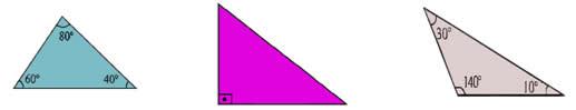 Respectivamente: acutângulo, retângulo e obtusângulo