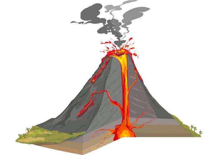 Os vulcões são estruturas geológicas constituídas por cone vulcânico, chaminé, cratera e câmara magmática.