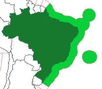 Mapa esquemático com destaque para a ZEE do Brasil *