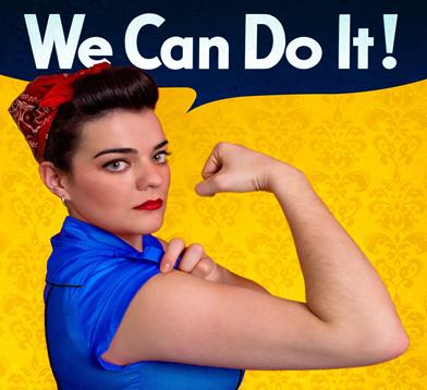 Reprodução de um cartaz dos EUA, similar a um de 1943, que pretendia mostrar a força das mulheres durante a guerra