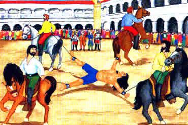 Representação do esquartejamento de Túpac Amaru II.