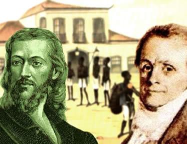 Tiradentes (esq.) e Cipriano Barata (dir.): personagens marcantes das revoltas coloniais brasileiras.