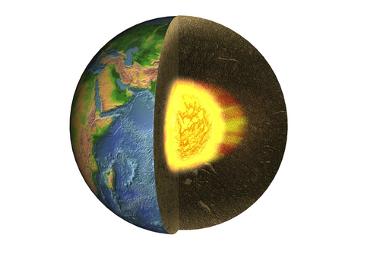Imagem conceitual esquemática do núcleo terrestre