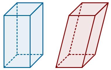Dois prismas: um reto e um oblíquo