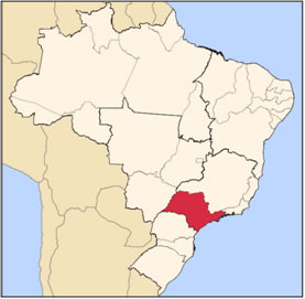 Localização de São Paulo no mapa do Brasil