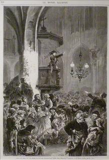 Gravura de Frédréric Lix (1830-1897) que retrata uma reunião do Clube das Mulheres durante a Comuna de Paris