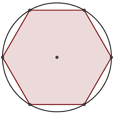 Polígono regular de seis lados inscrito em uma circunferência