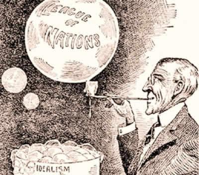 Uma charge da época questionando a força que a Liga das Nações teria para manter a paz no mundo.