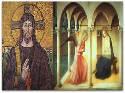 À esquerda, pintura medieval em formato plano; à direita, pintura renascentista com abordagens a partir do perspectivismo (profundidade, racionalidade