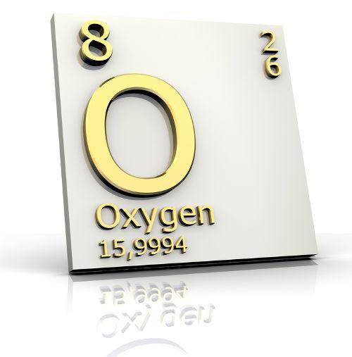 Forma como o elemento oxigênio é representado na tabela periódica.