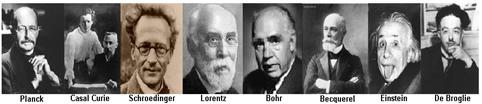 Na figura acima, alguns dos cientistas que contribuíram no desenvolvimento da física moderna.