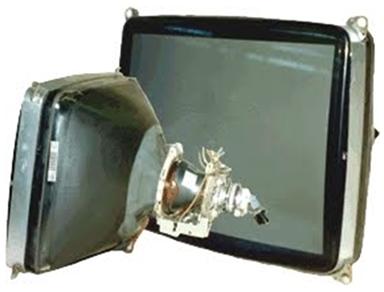 Tubo de vidro de uma televisão de tubo
