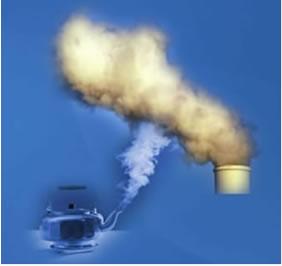 O vapor de água em uma chaleira pode ser condensado apenas com a diminuição da temperatura. Já os gases que são produzidos em processos industriais se