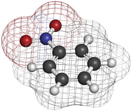 O nitrobenzeno é um composto obtido por reação de substituição no benzeno