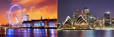 Londres e Sydney –  falantes da língua inglesa