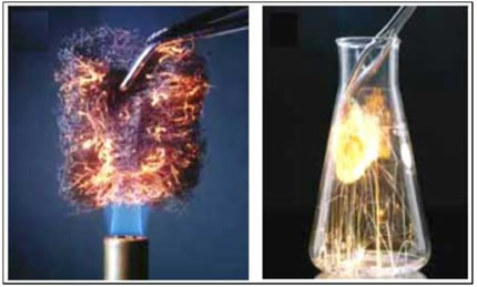 Um aumento na concentração do oxigênio provoca um aumento na velocidade da reação de combustão da palha de aço