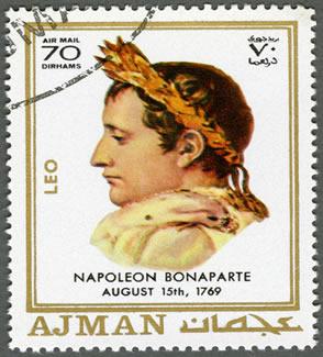 Bonaparte representado em um selo. As conquistas napoleônicas marcaram o apogeu e o declínio do Império francês sob seu comando