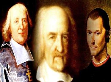 Jacques Bossuet, Thomas Hobbes e Nicolau Maquiavel: expoentes do pensamento absolutista.