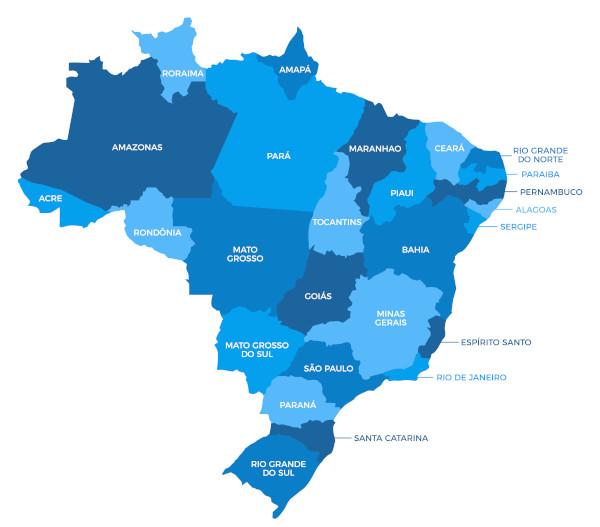 O território brasileiro é dividido em 27 unidades federativas, contando 26 estados e o Distrito Federal.