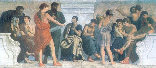 Afresco Escola de Aristóteles, de Gustav Spangenberg, retrata os discípulos do Liceu, escola de Filosofia fundada pelo escritor da Metafísica.