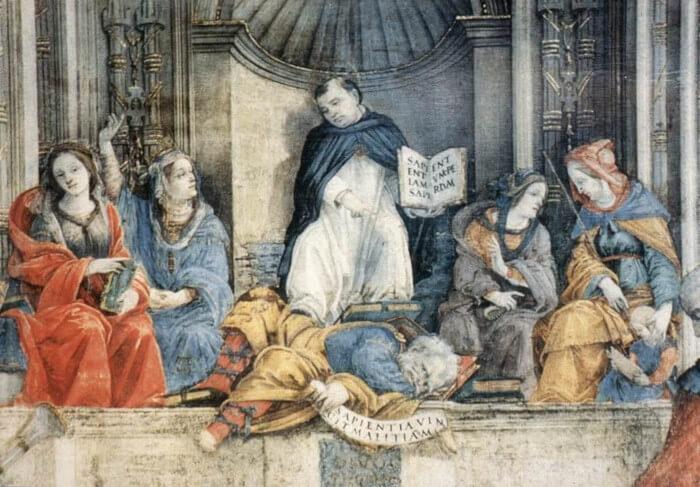 No afresco, São Tomás de Aquino está sobre um homem, ou as heresias, e ao lado de quatro mulheres, que simbolizam a razão.