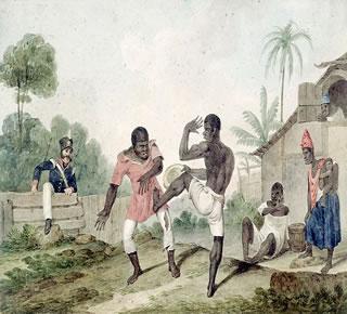 Negros lutando capoeira, em pintura de Augustus Earle (1793-1838), uma das formas de resistência corporal e cultural dos africanos escravizados