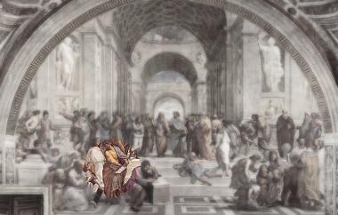 """Parmênides em destaque na obra """"Scuola di Atene"""", de Raffaello Sanzio"""