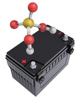 O ácido sulfúrico é usado em bateria de carro