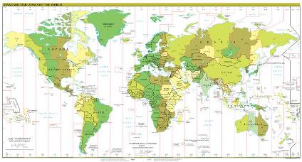 Mapa com os fusos horários do mundo