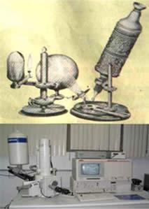 Do rudimentar ao moderno microscópio eletrônico.