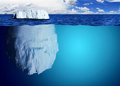 Cerca de 90% do volume total de um iceberg fica abaixo da superfície do mar