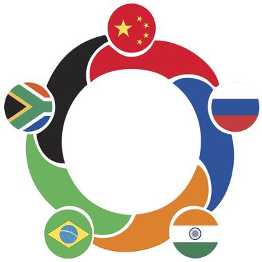 Símbolo com as bandeiras dos países integrantes do BRICS