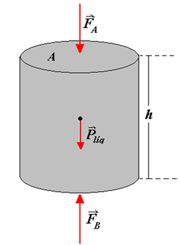 Cilindro contendo líquido homogêneo