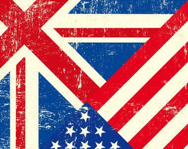 United Kingdom and United States'' Flag. / Bandeiras do Reino Unido e dos Estados Unidos