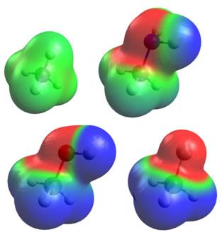 A polaridade das ligações pode ser vista por meio da distribuição espacial da sua nuvem eletrônica