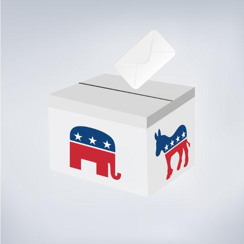 Nos Estados Unidos, há uma polarização entre os partidos Democrata e Republicano