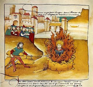 Jan Huss sendo queimado em uma fogueira, em representação do século XV