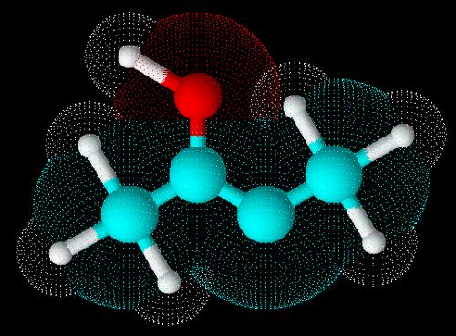 Estrutura em 3D do enol chamado but-2-en-2ol
