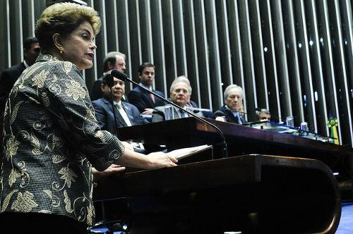Dilma Rousseff no dia de sua defesa (29 de agosto), no Senado Federal *