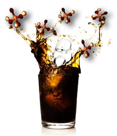 O refrigerante à base de cola contém ácido fosfórico como acidulante
