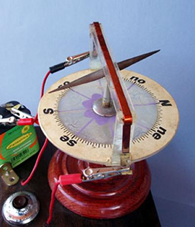 A agulha magnética sofre deflexão quando há corrente elétrica no fio condutor