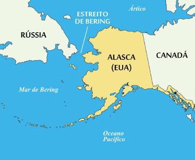 Mapa de localização do Estreito de Bering, entre o Alasca (EUA) e o território russo