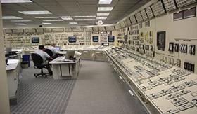 Interior de uma usina nuclear.