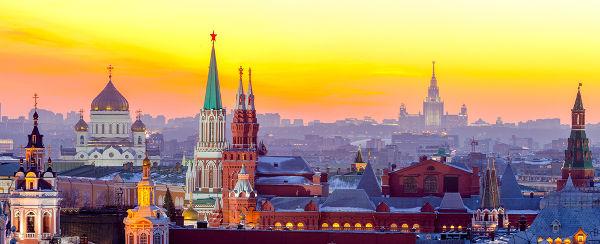 Visão aérea de Moscou com alguns dos prédios e das torres que compõem o Kremlin em destaque