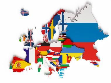 Mapa temático do continente europeu