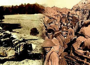 A guerra de movimento e a guerra de trincheiras: diferentes momentos da Primeira Guerra Mundial.