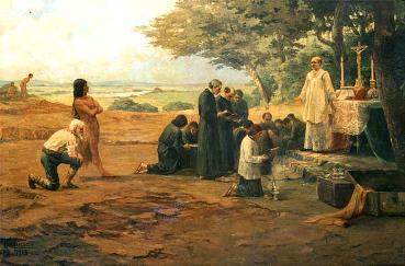 Quadro representando os jesuítas na catequização dos índios.
