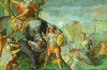 Guerras Púnicas, o conflito entre romanos e cartagineses.