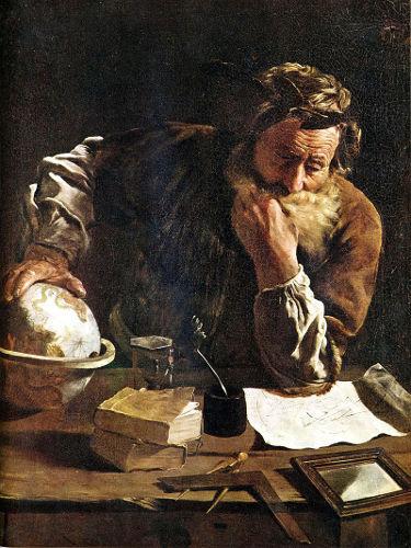 Pintura de Domenico Fetti (1620) retrata Arquimedes, um dos maiores inventores do mundo